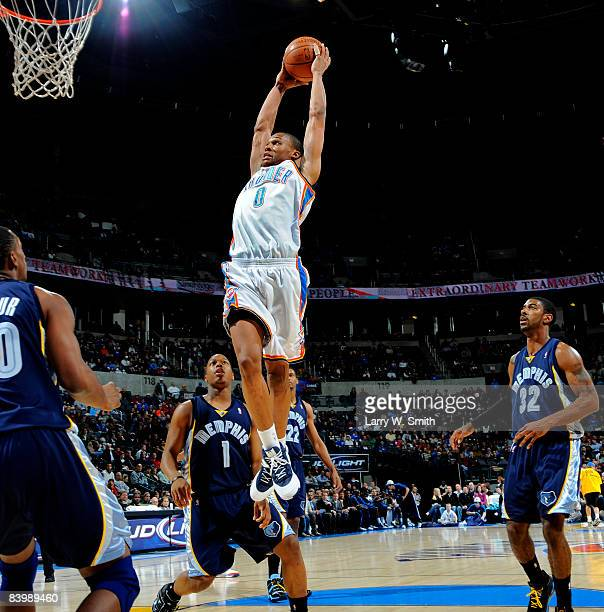 Russell Westbrook of the Oklahoma City Thunder goes for a dunk against the Memphis Grizzlies at the Ford Center on December 10 2008 in Oklahoma City...