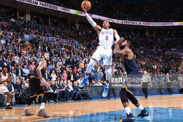 Russell Westbrook of the Oklahoma City Thunder goes for a lay up against the Cleveland Cavaliers during the game on February 9 2017 at Chesapeake...