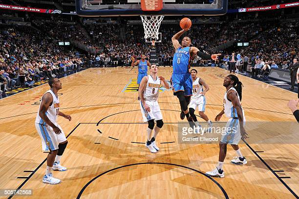 Russell Westbrook of the Oklahoma City Thunder goes for the dunk during the game against the Denver Nuggets on January 19 2016 at the Pepsi Center in...