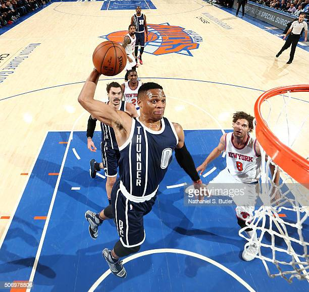 Russell Westbrook of the Oklahoma City Thunder goes for the dunk against the New York Knicks during the game on January 26 2016 at Madison Square...