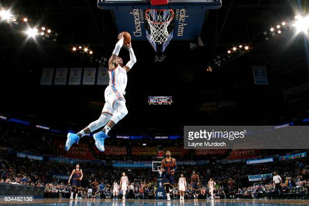 Russell Westbrook of the Oklahoma City Thunder goes for the dunk during the game against the Cleveland Cavaliers on February 9 2017 at Chesapeake...