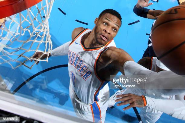Russell Westbrook of the Oklahoma City Thunder goes for the layup during the game against the Minnesota Timberwolves on October 22 2017 at Chesapeake...