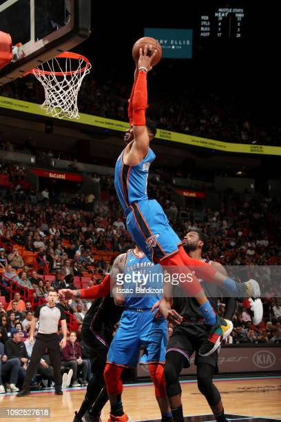 Russell Westbrook of the Oklahoma City Thunder goes to the basket for a dunk against the Miami Heat on February 1 2019 at American Airlines Arena in...
