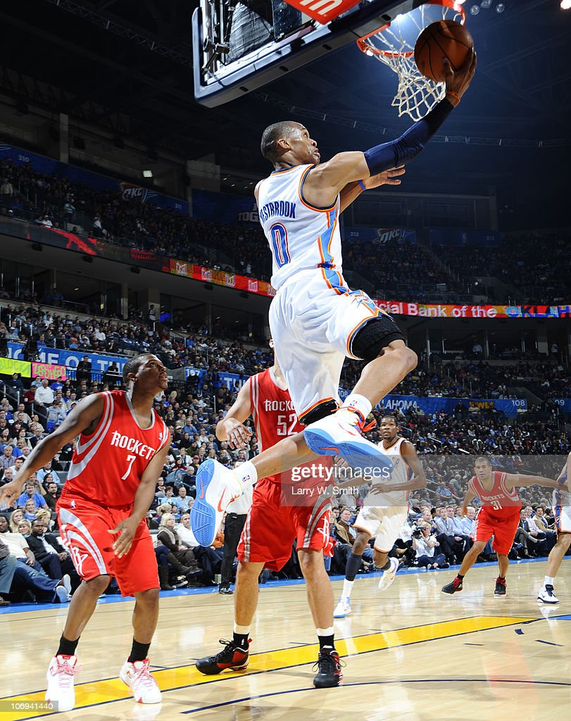 Russell Westbrook #0 of the Oklahoma City Thunder goes to the basket against the Houston Rockets during the game at the Oklahoma City Arena on November 17, 2010 in Oklahoma City, Oklahoma.