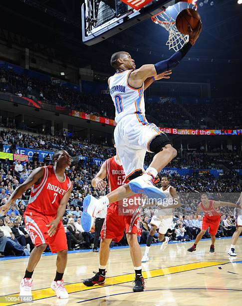 Russell Westbrook of the Oklahoma City Thunder goes to the basket against the Houston Rockets during the game at the Oklahoma City Arena on November...