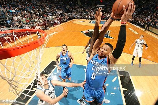 Russell Westbrook of the Oklahoma City Thunder goes to the basket against the Minnesota Timberwolves on January 12 2016 at Target Center in...
