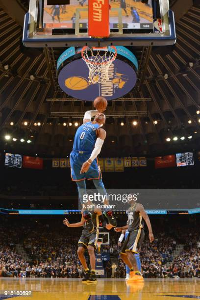 Russell Westbrook of the Oklahoma City Thunder goes to the basket against the Golden State Warriors on February 6 2018 at ORACLE Arena in Oakland...