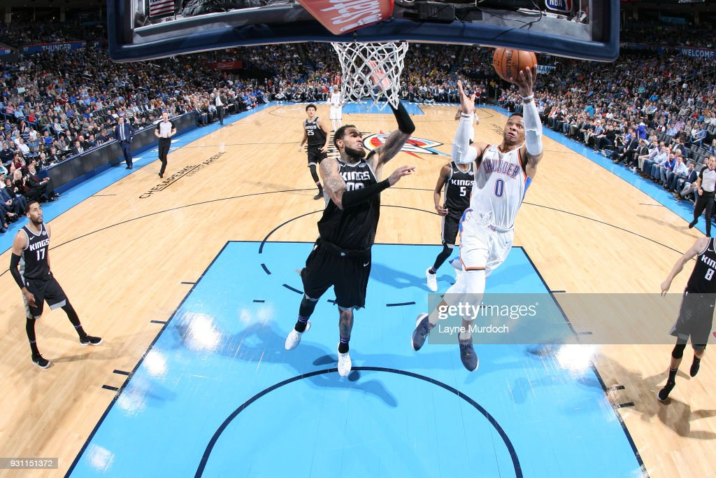 Russell Westbrook #0 of the Oklahoma City Thunder goes to the basket against the Portland Trail Blazers on March 12, 2018 at Chesapeake Energy Arena in Oklahoma City, Oklahoma.