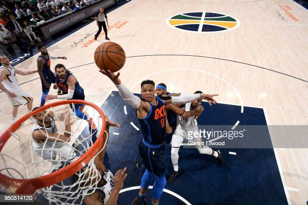 Russell Westbrook of the Oklahoma City Thunder goes to the basket against the Utah Jazz in Game Four of Round One of the 2018 NBA Playoffs on April...