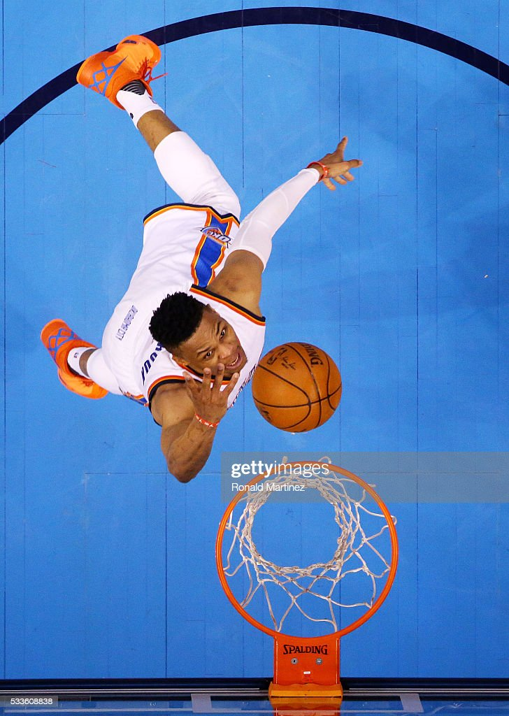 Russell Westbrook #0 of the Oklahoma City Thunder goes up against the Golden State Warriors in the first half in game three of the Western Conference Finals during the 2016 NBA Playoffs at Chesapeake Energy Arena on May 22, 2016 in Oklahoma City, Oklahoma.