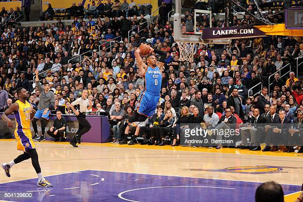 Russell Westbrook of the Oklahoma City Thunder goes up for a dunk against the Los Angeles Lakers on January 8 2016 at STAPLES Center in Los Angeles...