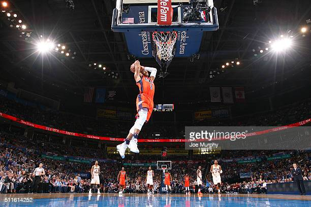Russell Westbrook of the Oklahoma City Thunder goes up for a dunk against the Cleveland Cavaliers on February 21 2016 at Chesapeake Energy Arena in...