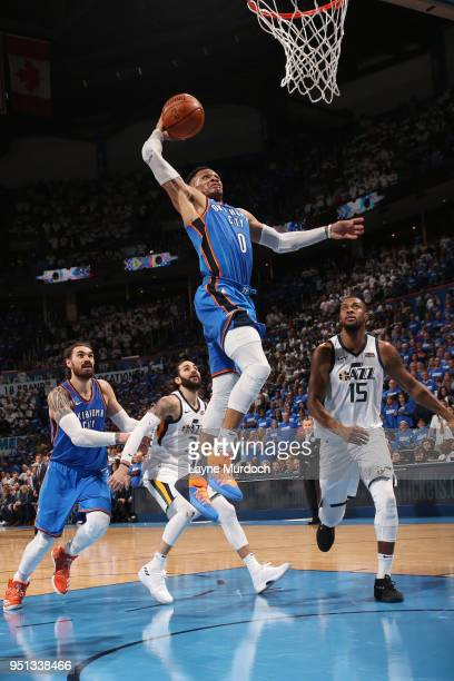 Russell Westbrook of the Oklahoma City Thunder goes up for a dunk against the Utah Jazz in Game Five of Round One of the 2018 NBA Playoffs on April...