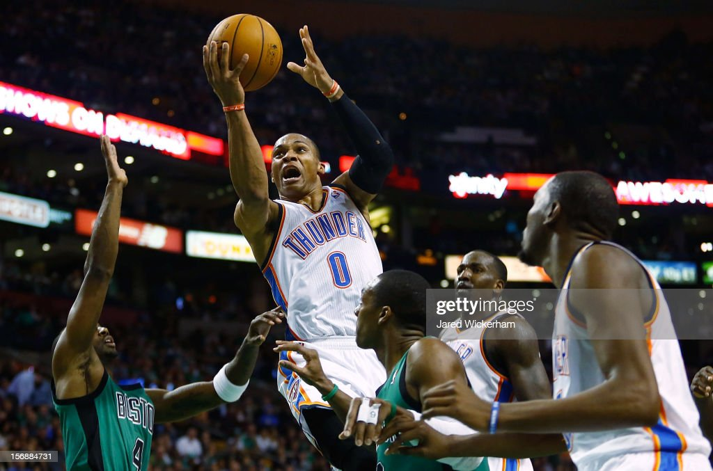 Russell Westbrook #0 of the Oklahoma City Thunder goes up for a layup against the Boston Celtics during the game on November 23, 2012 at TD Garden in Boston, Massachusetts.