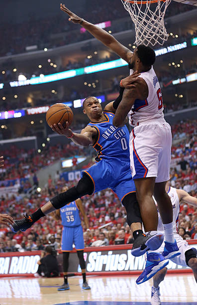 Russell Westbrook of the Oklahoma City Thunder vs. Clippers. May '14.