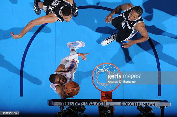 Russell Westbrook of the Oklahoma City Thunder goes up for a shot against the San Antonio Spurs in Game Three of the Western Conference Finals during...