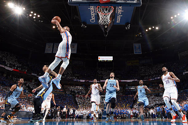 Russell Westbrook of the Oklahoma City Thunder vs. Grizzlies