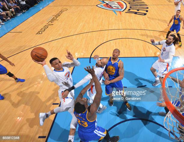 Russell Westbrook of the Oklahoma City Thunder goes up for the layup against the Golden State Warriors during the game on March 20 2017 at Chesapeake...