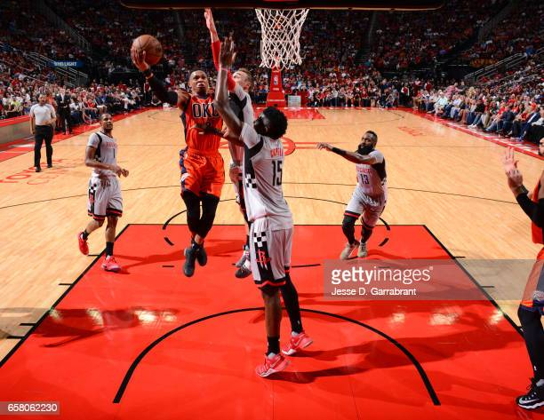 Russell Westbrook of the Oklahoma City Thunder goes up for the layup against the Houston Rockets on March 26 2017 at the Toyota Center in Houston...