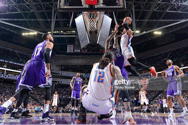 Russell Westbrook of the Oklahoma City Thunder goes up for the shot against DeMarcus Cousins of the Sacramento Kings on November 23, 2016 at Golden 1...