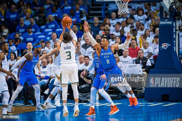 Russell Westbrook of the Oklahoma City Thunder goes up to block the shot of Ricky Rubio of the Utah Jazz in Game Five during Round One of the 2018...