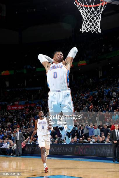 Russell Westbrook of the Oklahoma City Thunder goes up to dunk the ball against the Portland Trail Blazers on January 22 2019 at Chesapeake Energy...