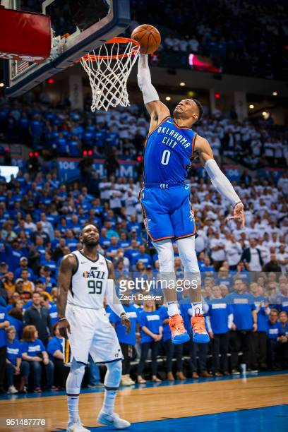 Russell Westbrook of the Oklahoma City Thunder goes up to dunk the ball in Game Five against the Utah Jazz during Round One of the 2018 NBA Playoffs...