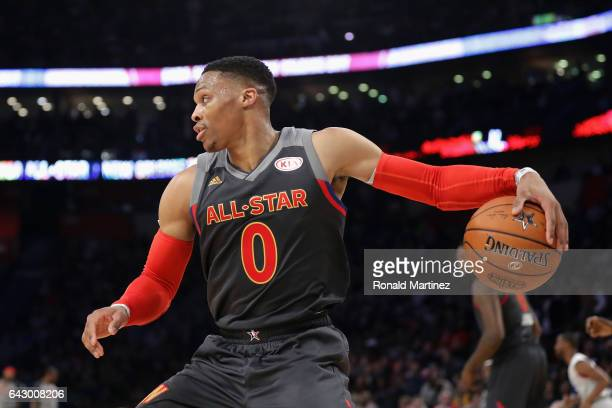 Russell Westbrook of the Oklahoma City Thunder handles the ball in the first half of the 2017 NBA AllStar Game at Smoothie King Center on February 19...