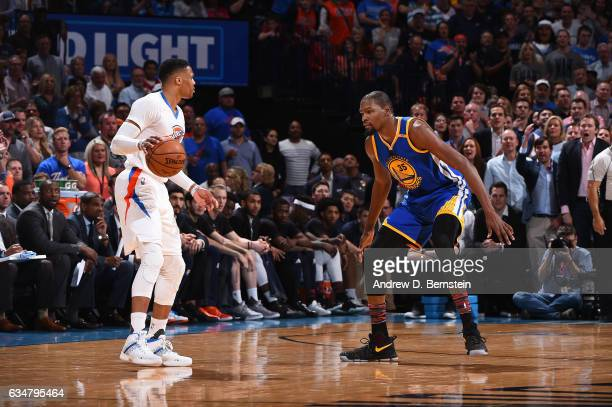Russell Westbrook of the Oklahoma City Thunder handles the ball against Kevin Durant of the Golden State Warriors on February 11 2017 at Chesapeake...