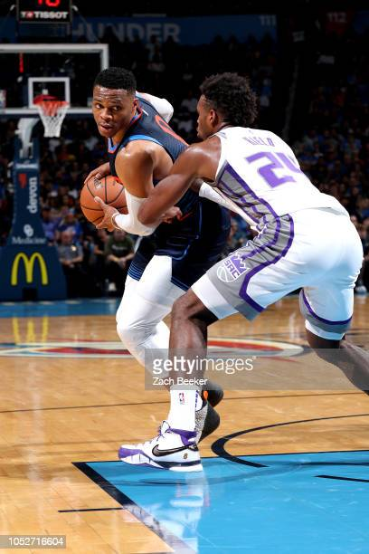 Russell Westbrook of the Oklahoma City Thunder handles the ball against the Sacramento Kings on October 21 2018 at Chesapeake Energy Arena in...
