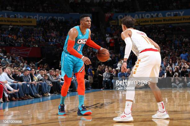 Russell Westbrook of the Oklahoma City Thunder handles the ball against the Atlanta Hawks on November 30 2018 at Chesapeake Energy Arena in Oklahoma...