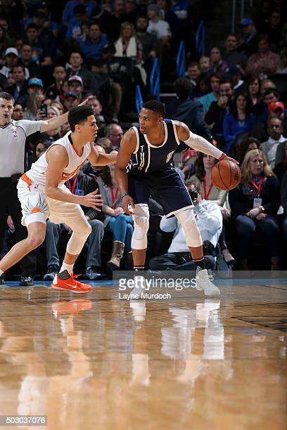 Russell Westbrook of the Oklahoma City Thunder handles the ball against the Phoenix Suns on December 31 2015 at Chesapeake Energy Arena in Oklahoma...