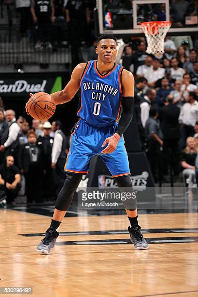 Russell Westbrook of the Oklahoma City Thunder handles the ball during the game against the San Antonio Spurs in Game Five of the Western Conference...