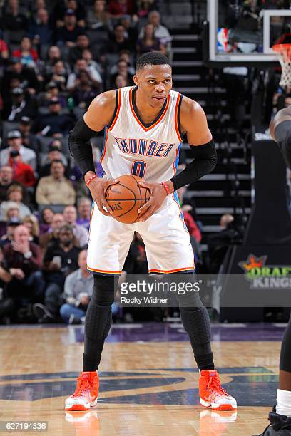 Russell Westbrook of the Oklahoma City Thunder handles the ball against the Sacramento Kings on November 23 2016 at Golden 1 Center in Sacramento...