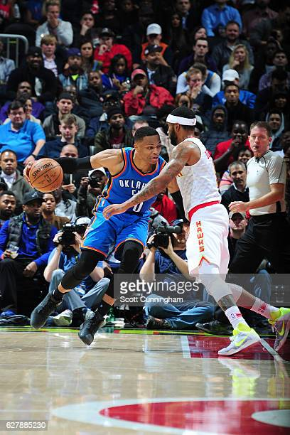 Russell Westbrook of the Oklahoma City Thunder handles the ball against the Atlanta Hawks on December 5 2016 at Philips Arena in Atlanta Georgia NOTE...