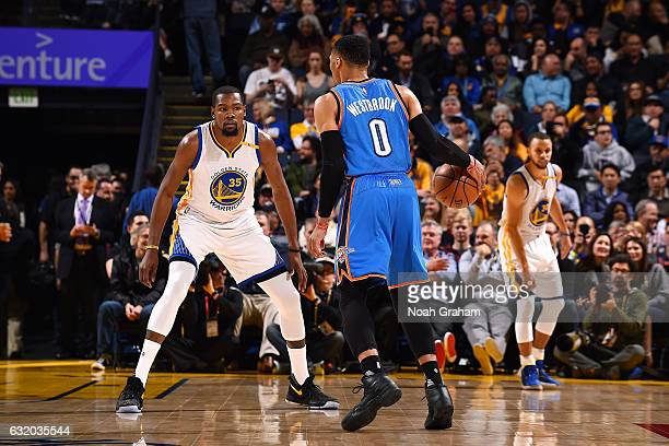 Russell Westbrook of the Oklahoma City Thunder handles the ball during the game against Kevin Durant of the Golden State Warriors on January 18 2017...