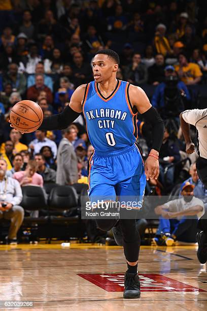 Russell Westbrook of the Oklahoma City Thunder handles the ball during the game against the Golden State Warriors on January 18 2017 at ORACLE Arena...
