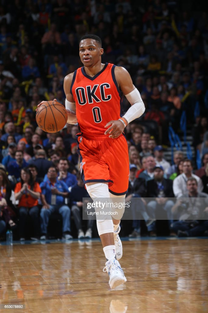 Russell Westbrook #0 of the Oklahoma City Thunder handles the ball against the New Orleans Pelicans on February 26, 2017 at the Chesapeake Energy Arena in Oklahoma City, Oklahoma.