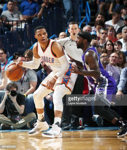Russell Westbrook of the Oklahoma City Thunder handles the ball against the Sacramento Kings during the game on March 18 2017 at Chesapeake Energy...