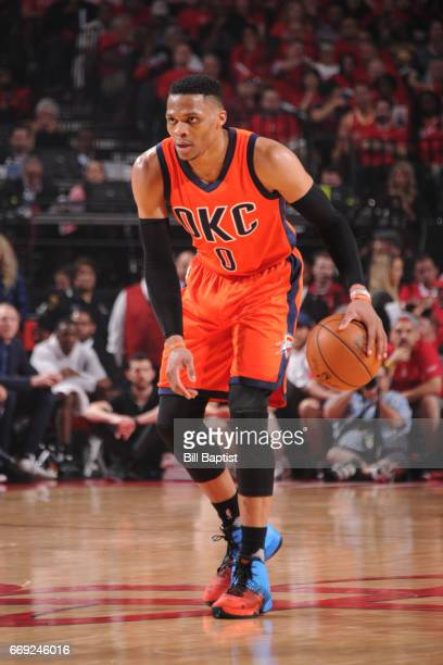 Russell Westbrook of the Oklahoma City Thunder handles the ball against the Houston Rockets during the Western Conference Quarterfinals of the 2017...