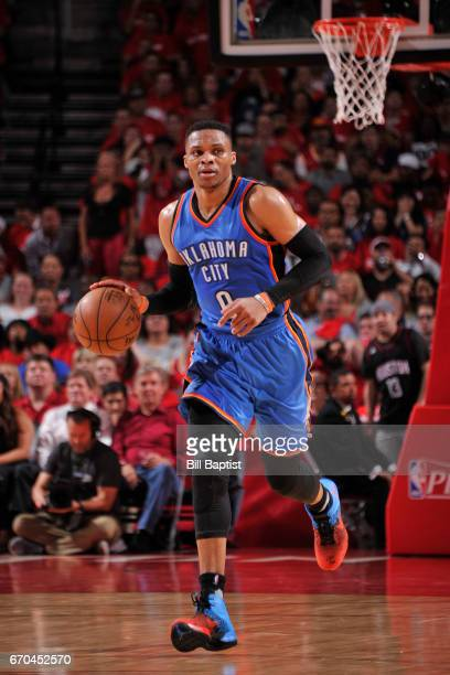 Russell Westbrook of the Oklahoma City Thunder handles the ball against the Houston Rockets during Game Two of the Western Conference Quarterfinals...