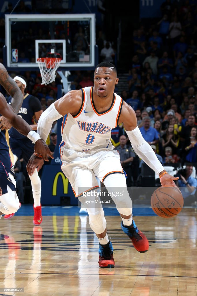 Russell Westbrook #0 of the Oklahoma City Thunder handles the ball during the game against the New Orleans Pelicans during a preseason game on October 6, 2017 at Chesapeake Energy Arena in Oklahoma City, Oklahoma.