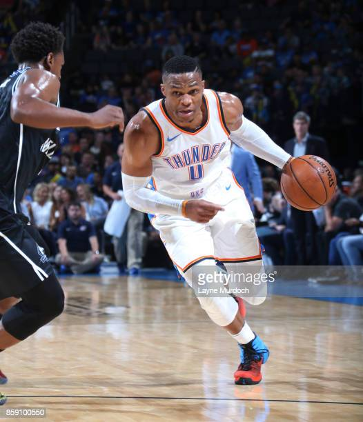 Russell Westbrook of the Oklahoma City Thunder handles the ball against the Melbourne United during the preseason game on October 8 2017 at...