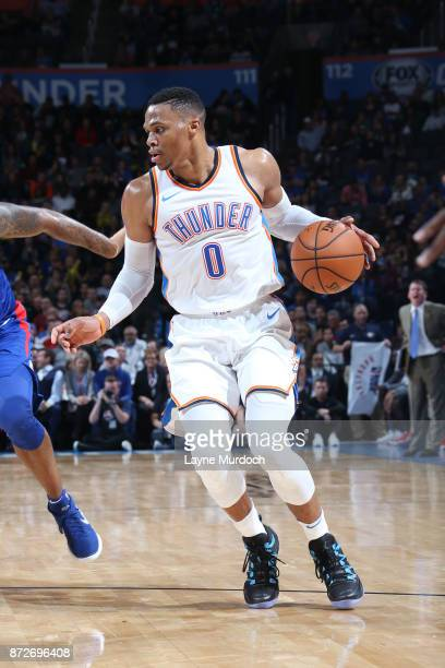 Russell Westbrook of the Oklahoma City Thunder handles the ball against the LA Clippers on November 10 2017 at Chesapeake Energy Arena in Oklahoma...