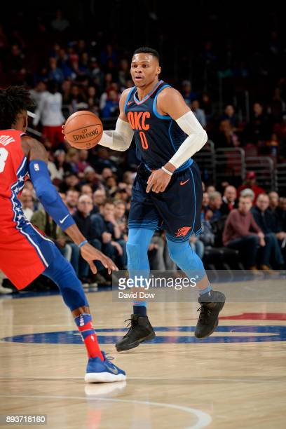 Russell Westbrook of the Oklahoma City Thunder handles the ball during the game against the Philadelphia 76ers on December 15 2017 at the Wells Fargo...