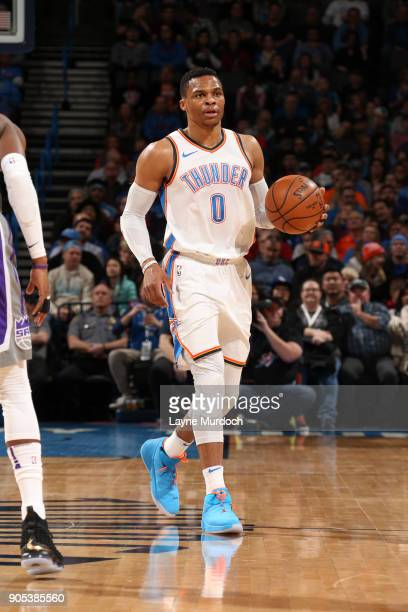Russell Westbrook of the Oklahoma City Thunder handles the ball against the Sacramento Kings on January 15 2018 at Chesapeake Energy Arena in...