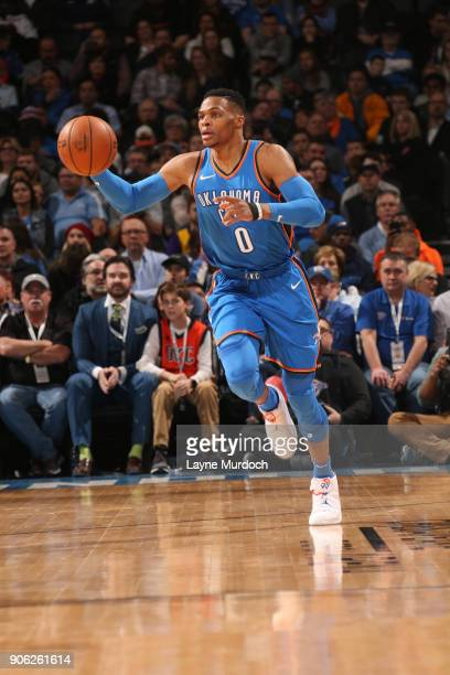 Russell Westbrook of the Oklahoma City Thunder handles the ball during the game against the Los Angeles Lakers on January 17 2018 at Chesapeake...
