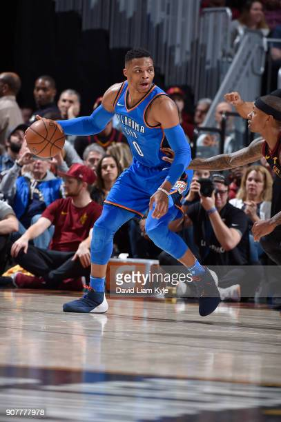 Russell Westbrook of the Oklahoma City Thunder handles the ball against the Cleveland Cavaliers on January 20 2018 at Quicken Loans Arena in...