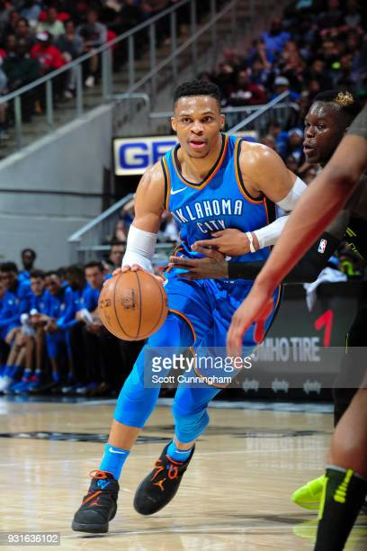 Russell Westbrook of the Oklahoma City Thunder handles the ball against the Atlanta Hawks on March 13 2018 at Philips Arena in Atlanta Georgia NOTE...