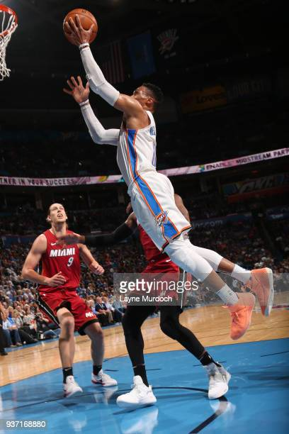 Russell Westbrook of the Oklahoma City Thunder handles the ball against the Miami Heat on March 23 2018 at Chesapeake Energy Arena in Oklahoma City...
